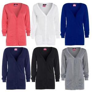 Womens-New-Button-Up-Boyfriend-Cardigan-Top-Ladies-Long-Sleeve-Pocket-Cardi-8-24