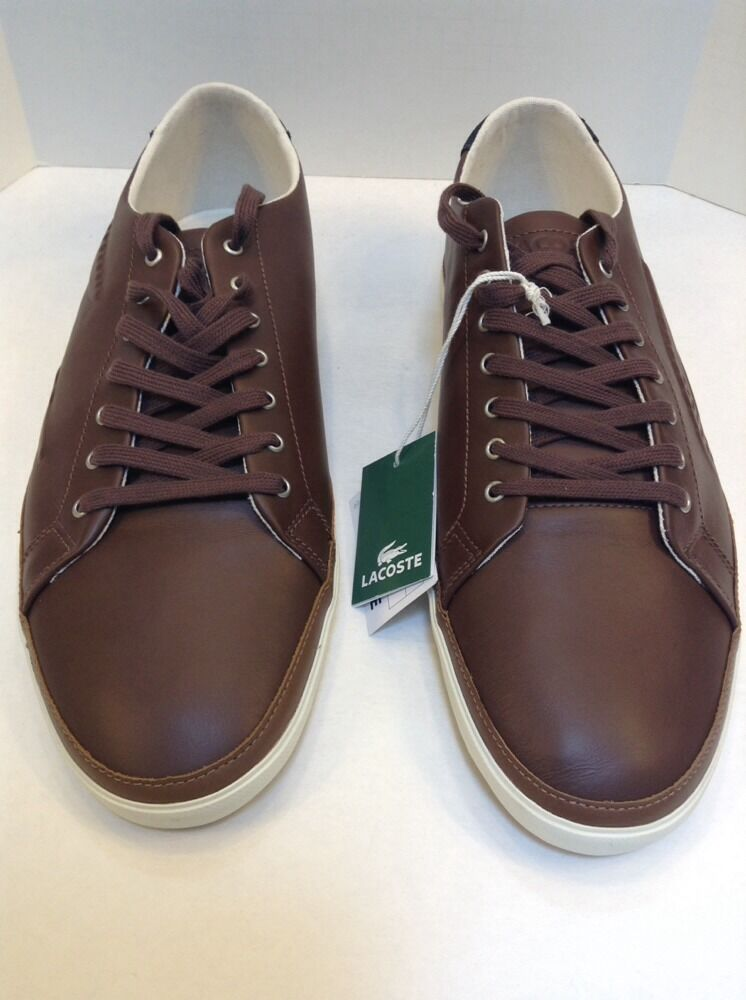 Lacoste Bocana 6 SPM Dark Brown Leather Sneaker Big Crocodile Logo Men 13 US NIB