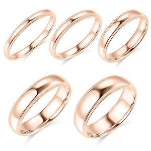 10K-Rose-Gold-2mm-3mm-4mm-5mm-6mm-Comfort-Fit-Men-Women-Milgrain-Wedding-Band