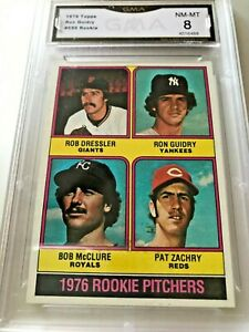 RON-GUIDRY-Rookie-Card-1976-Topps-599-GMA-Graded-8-NM-MT