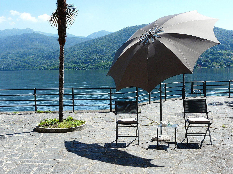Maffei ombrellone palo centrale Bea Art.29 taupe poliestere antivento d.280 cm