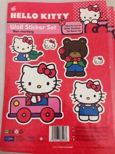 Hello-Kitty-Wall-Decor-Sticker-Set-driving-car-watering-garden