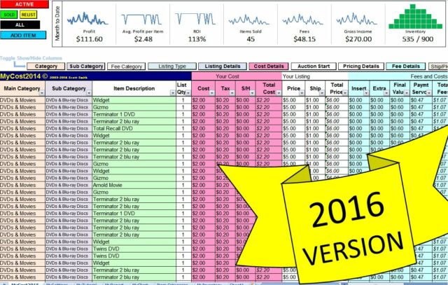 mycost2016 ebay profit track sales inventory spreadsheet for 2016