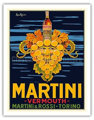 Martini Print on Canvas-POSTER Vermouth Collection Bar Pub posters vintage