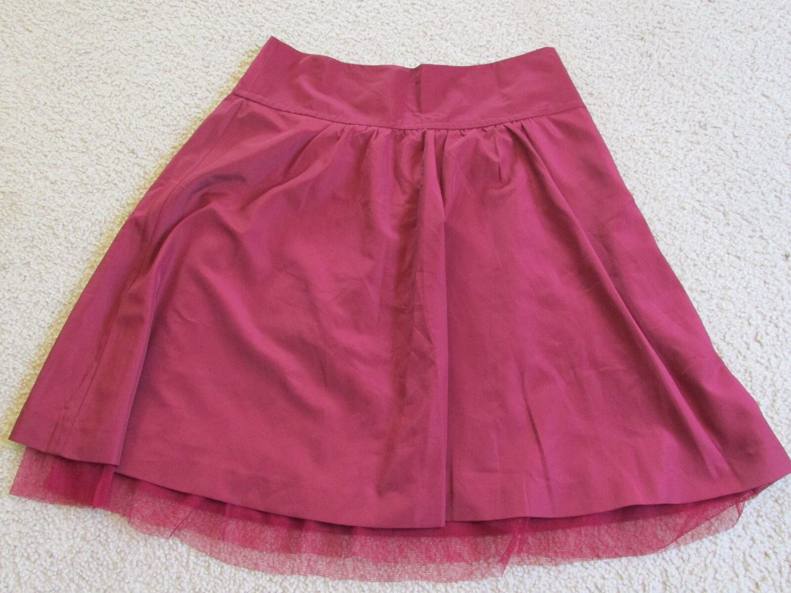 New with Tags Women's The Limited Dark Wine Red Ruffle Skirt Tulle Edge Size 4