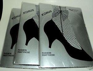 3-KORUS-BLACK-Fishnet-Pantyhose-With-Ankle-Bow-Fits-5-039-5-039-8-034-amp-100-165-lbs-NIP
