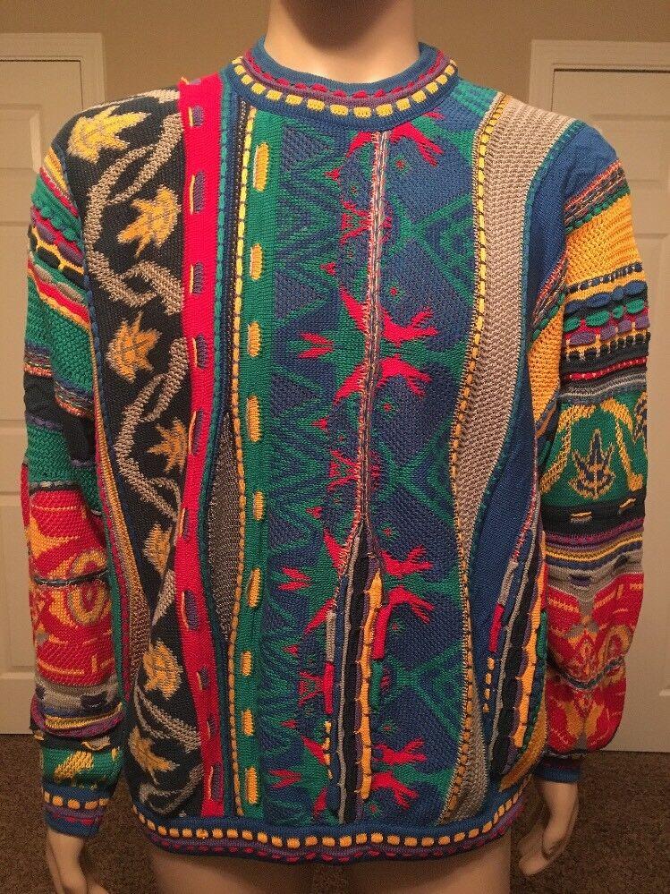 RARE 90s Vtg COOGI Australia BIGGIE-MCGREGOR sweater FIRE Large VAPORWAVE