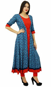 Bimba-Womens-Designer-Flaired-kurta-Dress-Indian-Clothing-Printed-Rayon-Kurti