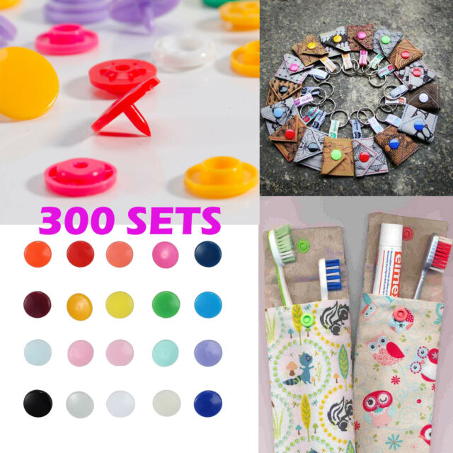 300 Sets KAM Snap Kits Size 20 T5 Plastic Snaps Fastener Buttons Press Stud Set