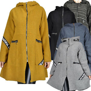 Wollemantel Mantel Jacke Senf Grau Schwarz Kapuze Wolle A-Form  50 52 54 56 58