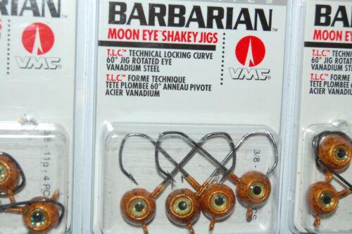 3 Packs VMC Barbarian Moon Eye Shakey Jigs 3//8oz Crapet-Soleil Wacky plombée