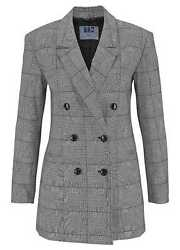 AJC Long Blazer Grau Kariert Damen Business Jacke Anzug 83491805 Gr. 32-44