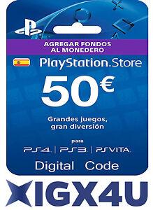 PlayStation PSN Tarjeta Prepago 50 Euro Sony PS3 PS4 PS Vita Digital Código [ES]