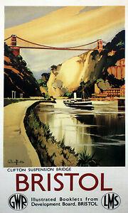 CLIFTON-SUSPENSION-BRIDGE-Bristol-Vintage-Railway-Travel-Poster-A1-A2-A3-A4Sizes