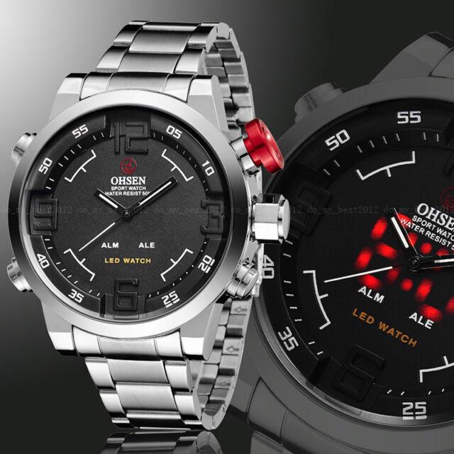 OHSEN Mens Military Year Steel Date Black Dial Digital Light Quartz Wrist Watch