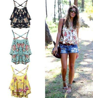 Women Floral Print Chiffon Shirt Spaghetti Strap Vest Summer Blouses Crop Tops