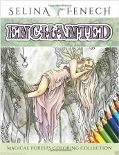 Enchanted Fairy Unicorns Dragons Art Adult Coloring Book Fantasy Forest Fairies