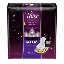 Poise Overnight Incontinence Pads Ultimate 75% Absorbency  - Wider Back (Pack of 72)