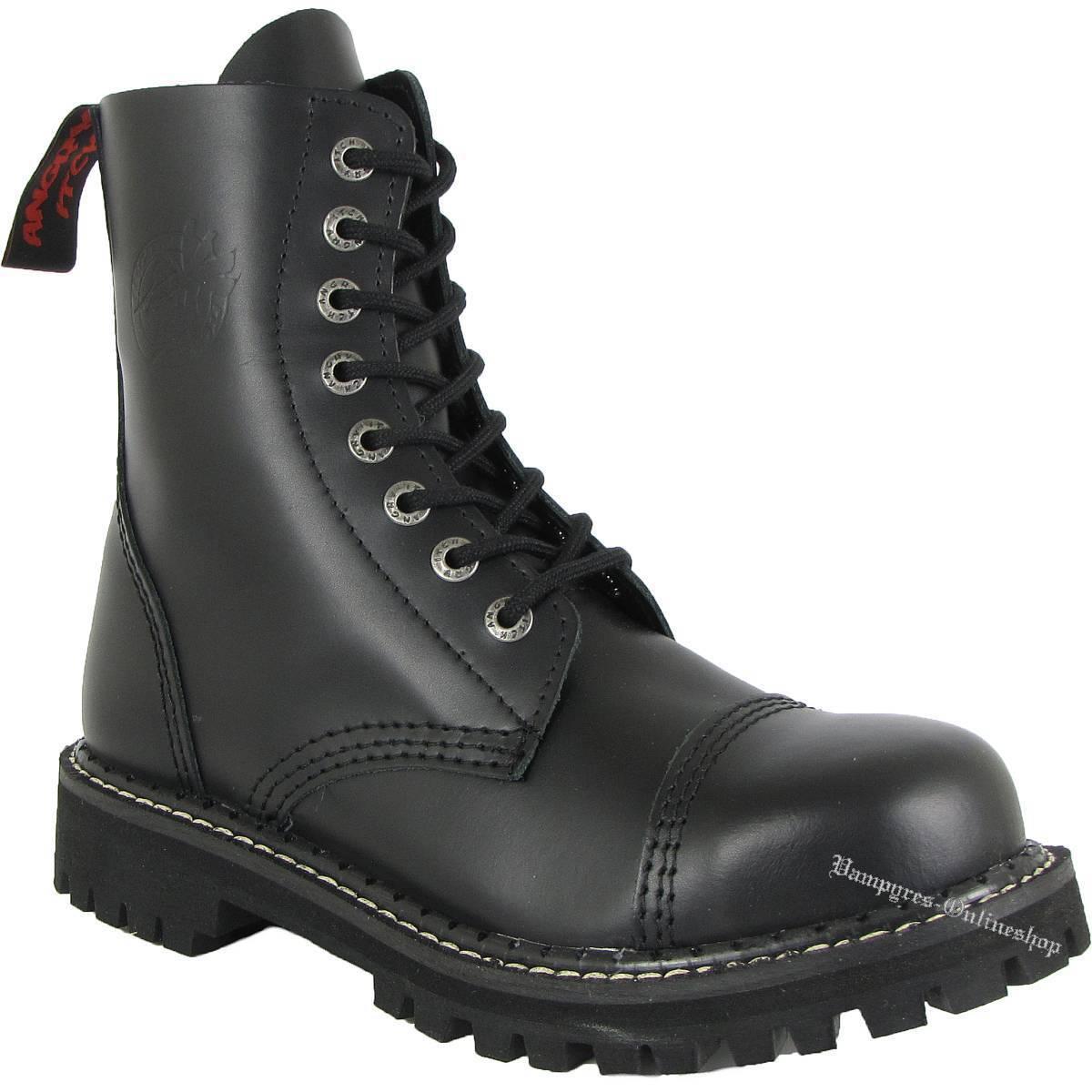 Angry Itch 8-agujero negro rangers botas de cuero acero tapas zapatos botas Black