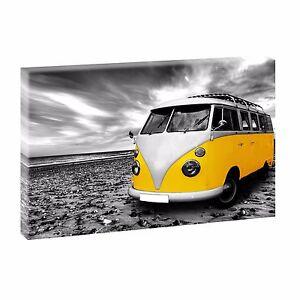 VW BULLI GIALLO arte immagine parete stampa poster immagine foto SU TELA XXL CM 100 * 65 cm 515  </span>