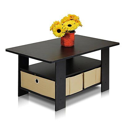 Furinno Coffee Table with Bin Drawer - Espresso/Brown, 11158EX/BR New