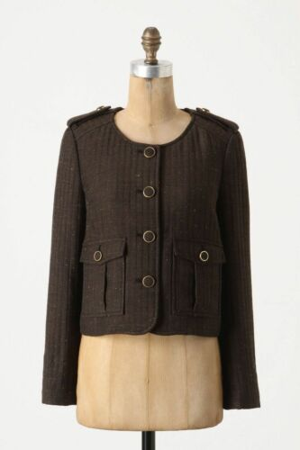 Anthropologie Front Brigade Jacket Beskåret 10 Cartonnier af Tweed Button Blazer YOUxPY
