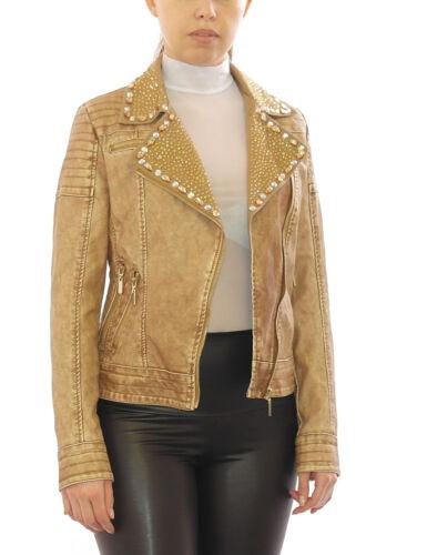 Biker da Donna Giacca ecopelle Jacket giacca balzer arte Giacca di pelle borchie pietre