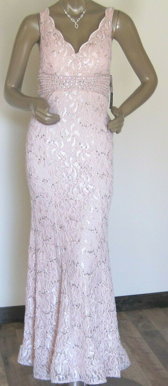 My Michelle Dress Gown Womens NEW Pink Lace With Gems Prom Cruise NEW