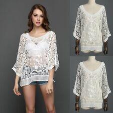 Fashion Women's Summer Loose Lace Crochet Long Sleeve Casual Blouse Tops T Shirt