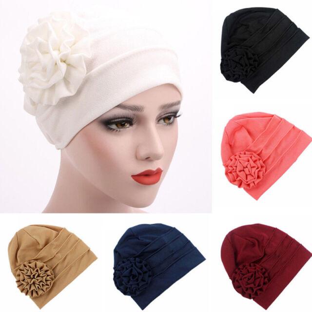 Women Muslim Flower Cotton Beanie Turban Hat Chemo Cap Hair Loss Bonnet Hijab