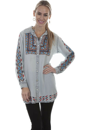Scully Women/'s Floral Embroidered Button Up Western Shirt HC331 SALE MSRP $89