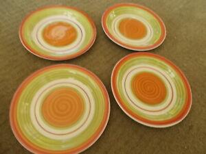 Set-of-4-Pier-1-Valencia-Red-Orange-Green-7-1-4-034-Salad-Plates