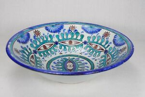 Stunning-Large-Hand-Painted-Majolica-Salad-Fruit-Bowl-Dish-Blue-Thrown-Pottery