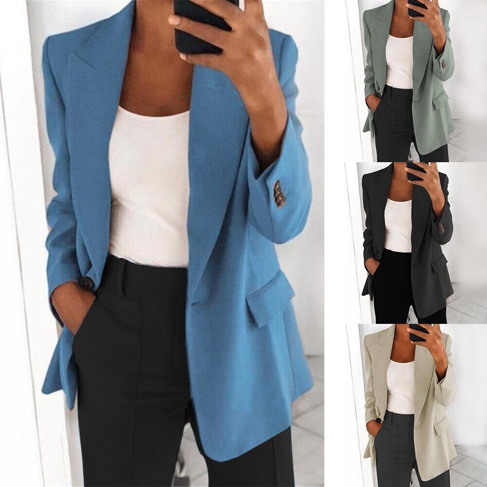 Womens Suit Collar Blazer Ladies Cardigan Coat Formal Jacket Thin Plus Size Coat