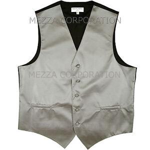 New Men's Tuxedo Vest Waistcoat Horizontal Stripes only prom wedding party Gray