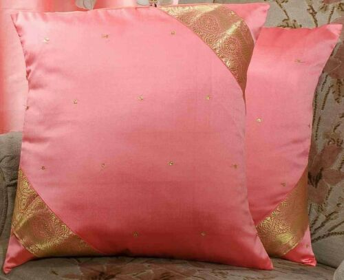 Pink-Decorative handcrafted Cushion Cover Throw Pillow case Euro Sham-6 Sizes