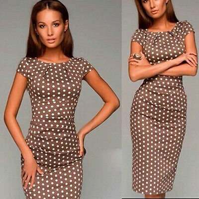 New Women Summer Casual Office Lady Party Evening Cocktail Midi Dress Size 6-16