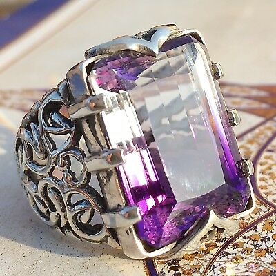 925 Sterling Silver Mens Ring Bolivian White Ametrine unique handcrafted jewelry