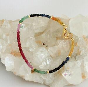 Ruby Sapphire Emerald Bracelet Gemstone Regenbogenarmband 925 Silver Colored -