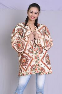 Indian-cotton-women-039-s-jacket-Coat-outwear-Mirror-work-2XS-10XL-Plus-Size