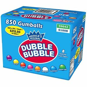 Dubble-Bubble-ASSORTED-Gumballs-Bulk-850-pcs-1-034-24mm-Approximately-15-Pounds