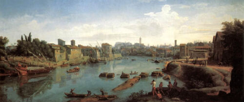 "Oil Caspar Andriaans van Wittel Rome the Tiber near the Porto di Ripa Grande 48/"""
