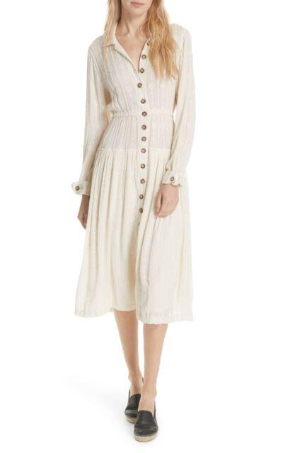 f956d175f People Diamond Head Embroidered Maxi Dress Raw Linen Ivory Boho M ...