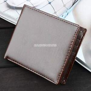 Men-039-s-Brown-Leather-Small-Wallet-Slim-Purse-Credit-Card-Holder-Cash-Pocket