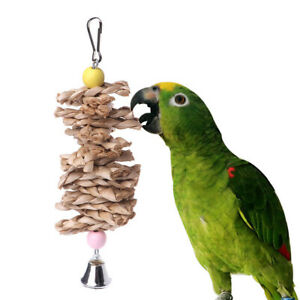 Parrot-Bird-Toys-Natural-Wooden-Grass-Chewing-Bite-Hanging-Cage-Bell-SwingCl-ly