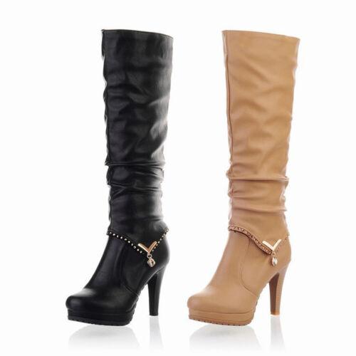 Femmes Genou Bottes Stiletto Talons Hauts Plateforme Bottes Bottes hautes en cuir Chaussures nouveau