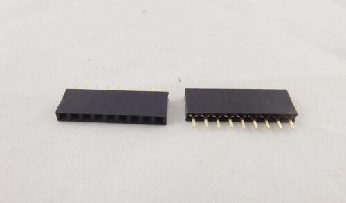 50x Pitch 1x 9 Pin 2.54mm Female Single Row Straight PCB Header Strip Socket