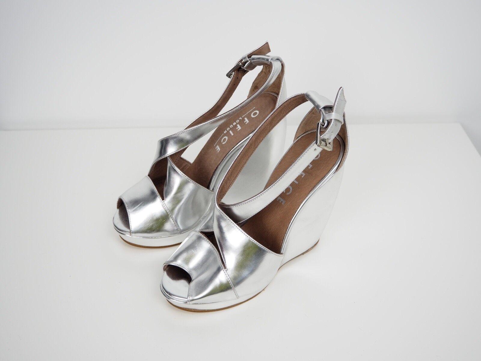 Office Silver Wedges Cross Damens Strap Buckle Heels Schuhes Damens Cross Retro 90's Wedding 1edc5f