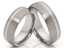 2 Anillos de titanio con plata pareja amistad boda & Grabado