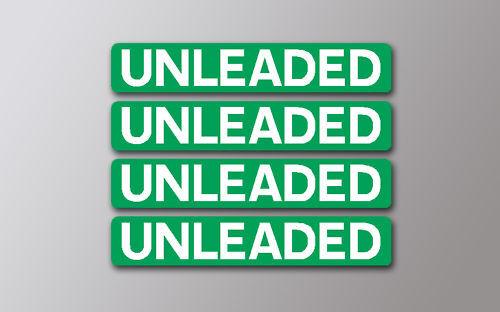 4 UNLEADED FUEL STICKERS IN GREEN